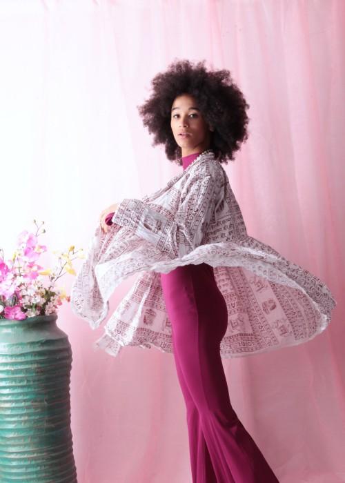 Bohemian Couture Jacke Gebetstuch weiss