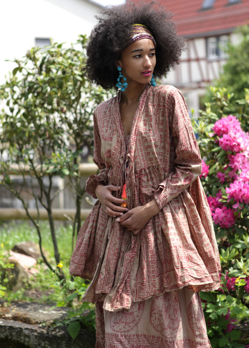 Bohemian Couture Jacke Krishna braun-rot