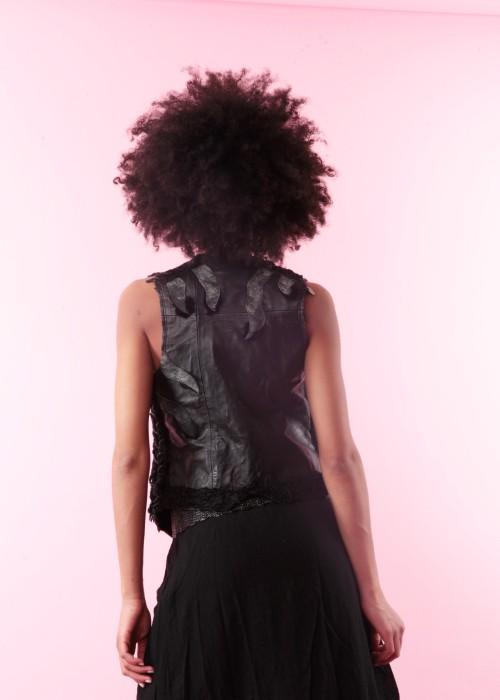 Boho Leder Weste Fur black