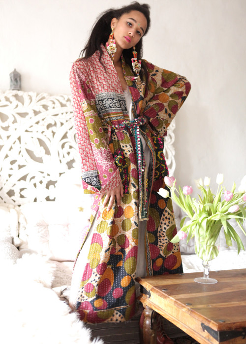 Boho Kimono Mantel Madhu Vintage oliv