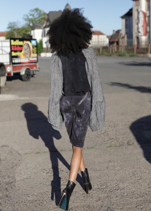Kimono Jacke black grey