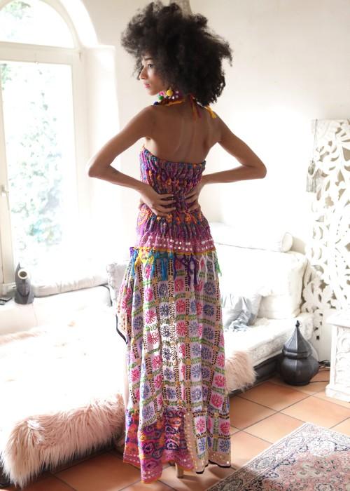 Boho Bandeaukleid Gypsy Embroidery rosa