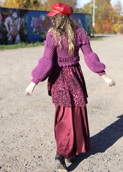 Boho Pullover Crochet lila