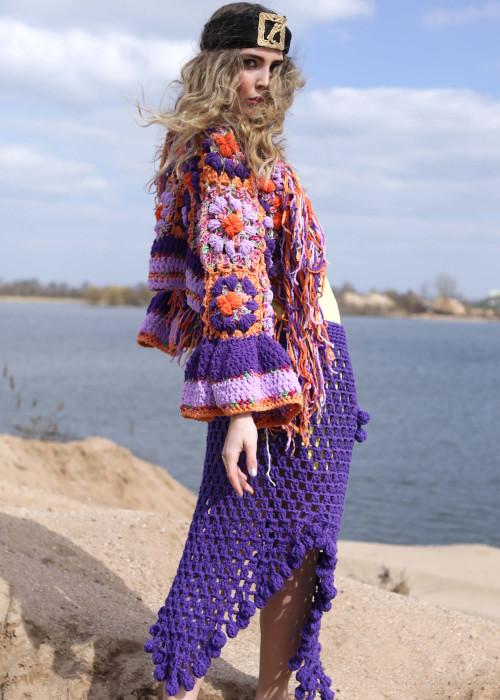 Boho Maxirock Crochet Pompoms lila
