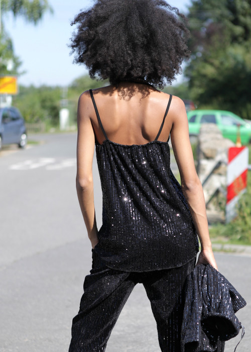 Top Sequins schwarz