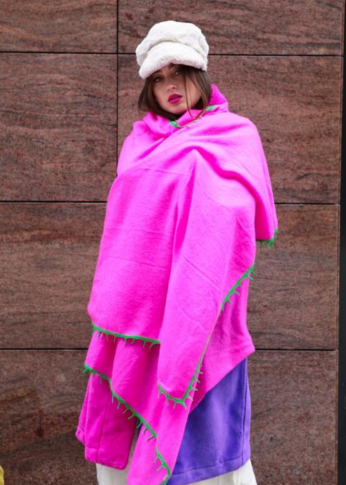 Kaschmir Schal pink mit Border