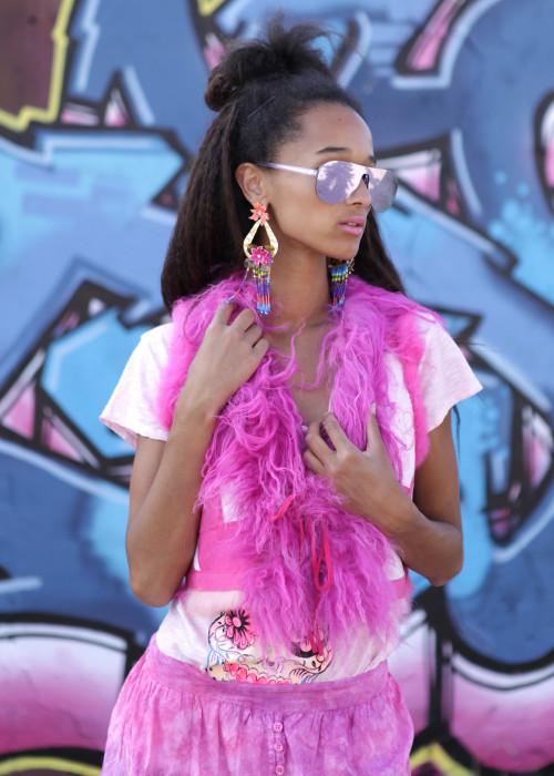Bohemian Bolero Fellweste Frida Kahlo pink