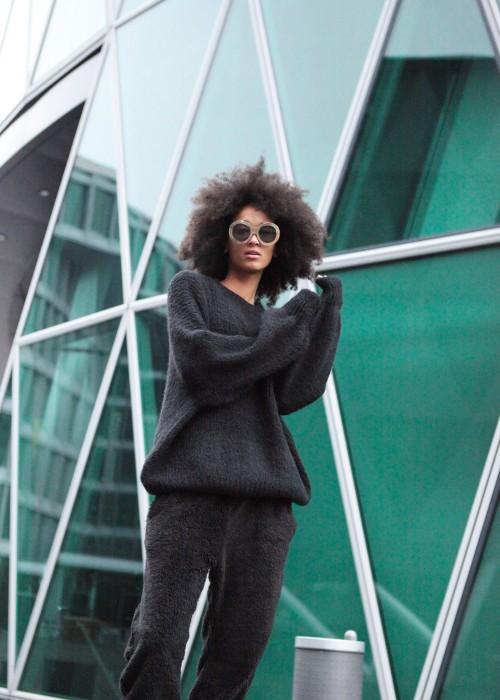 Boho Flash Oversize Pullover schwarz