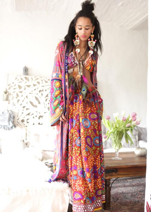 Boho Maxirock Gypsy Embroidery nougat