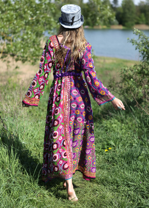 Boho Kleid Empire Embroidery lila