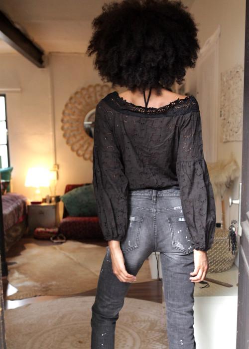 Body V-Neck Lace schwarz