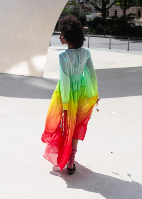 Boho Empire Rainbow Maxi-Kleid