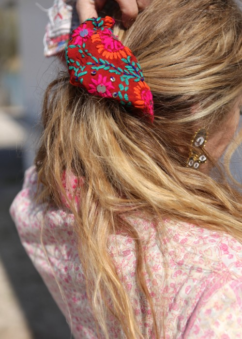 Boho Haargummi Embroidery Flower lachs XL