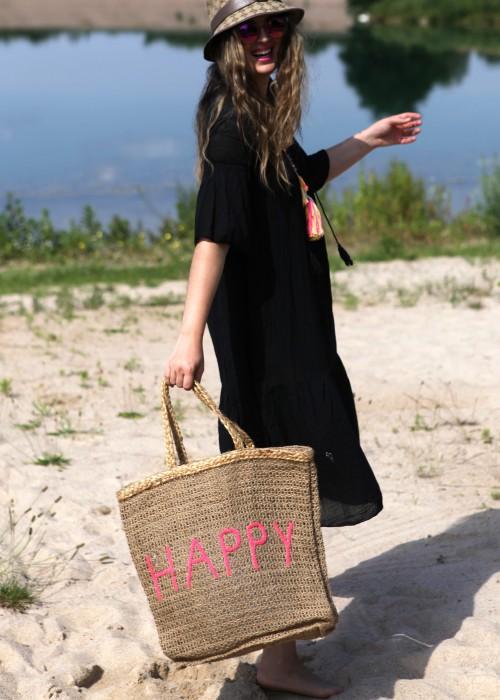 Boho Shopper Bag Jute Happy