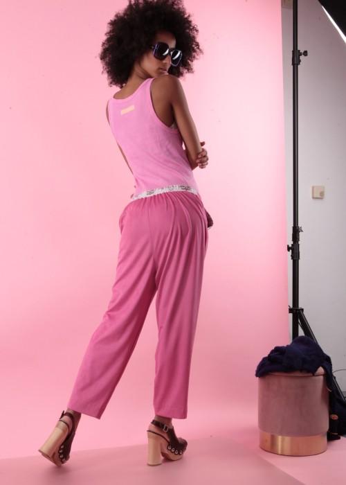 Boho Faux Leather Pants rosa