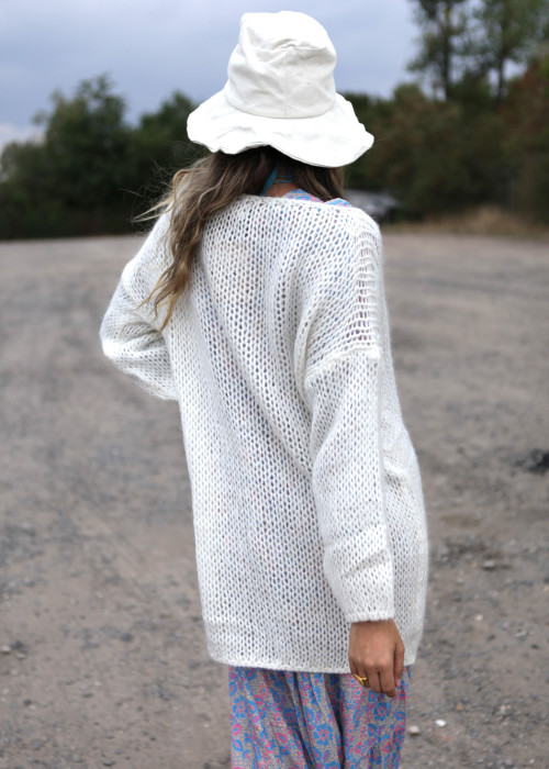 Long Pullover creme