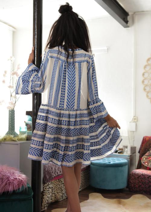 Boho Tunika Kleid Kefiyeh blau-creme