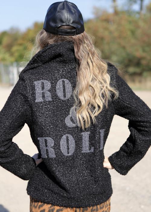 Boucle Jacke Rock n Roll graphit