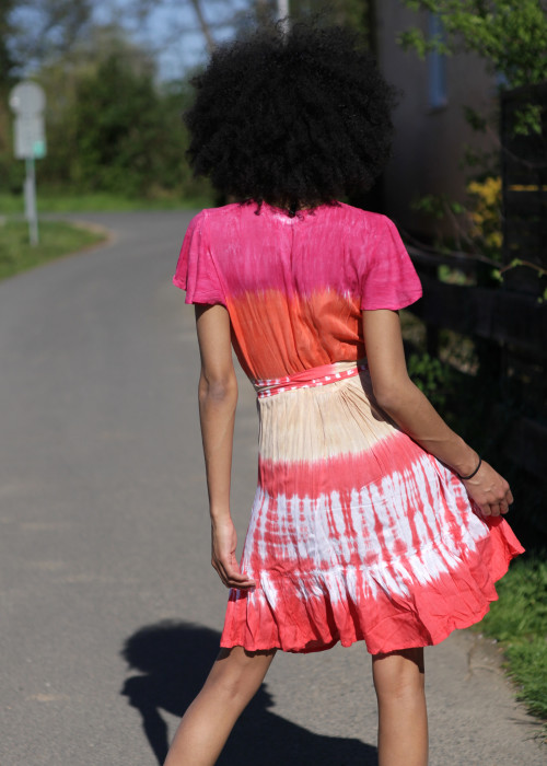 Boho Minikleid Wickelkleid Batik pink-orange