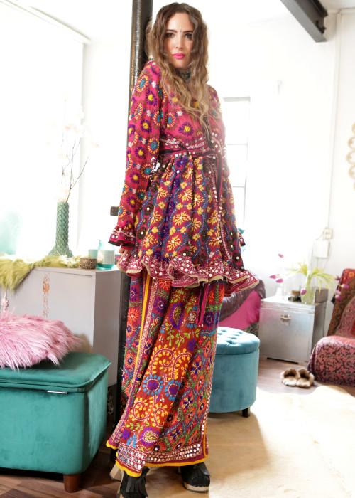 Boho Tunika Babydoll Embroidery violett