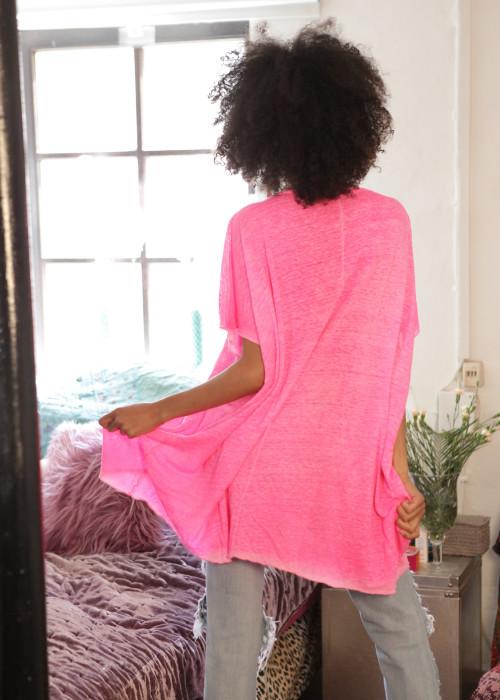 Oversize Shirt Leinen Punk neon-pink