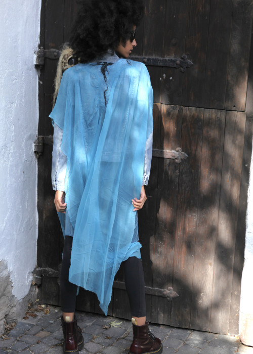 Kaftan Bluse Seide-Chiffon blau
