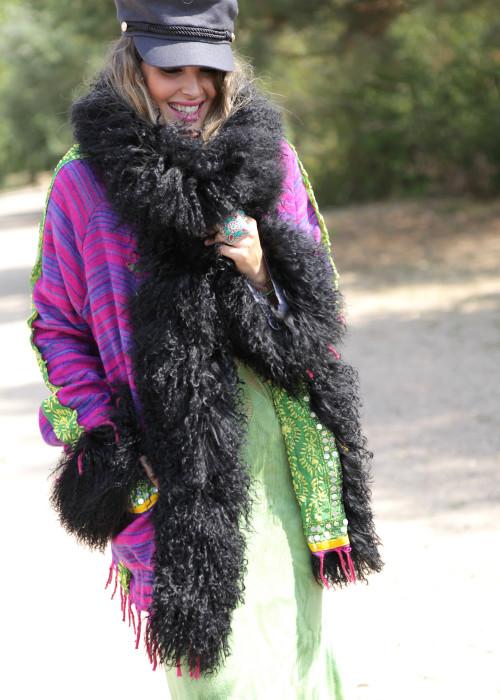 Boho Jacke mit Tibetlamm pink-schwarz
