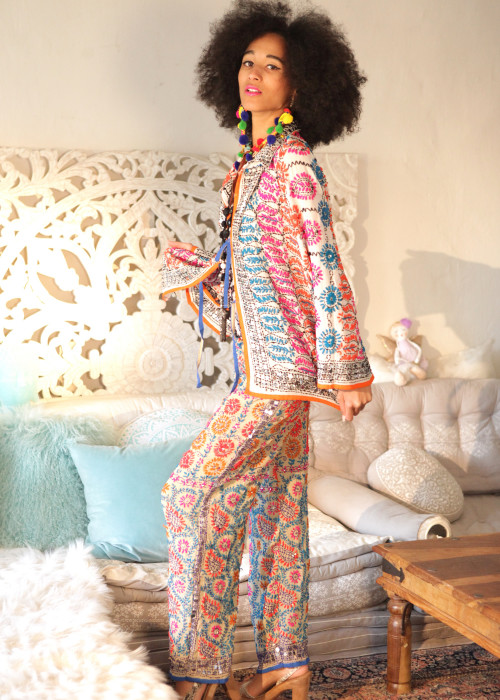 Boho Hose Embroidery nude-pink