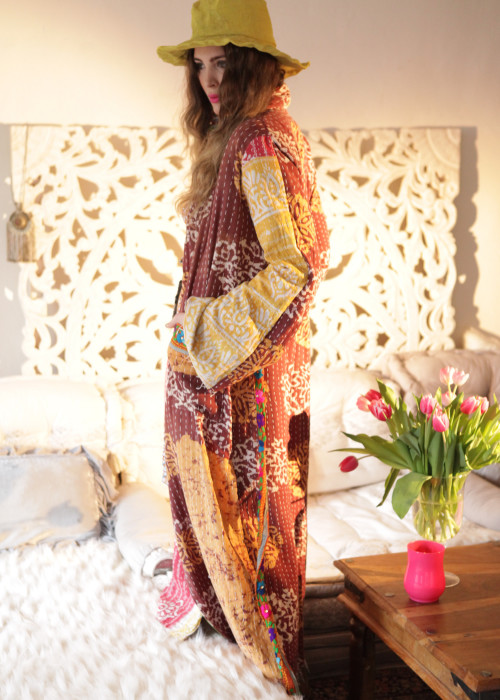 Boho Kimono Mantel Madhu Vintage braun