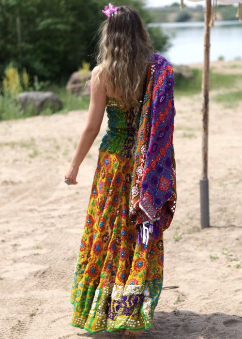 Boho Bandeaukleid Gypsy Embroidery gelb