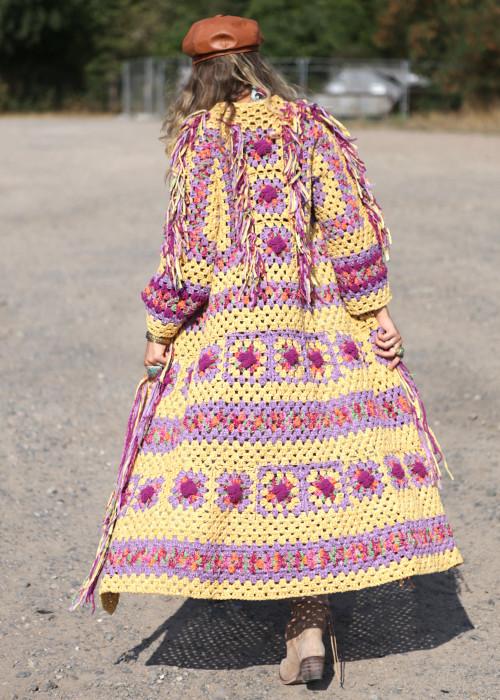 Boho Square Mantel Crochet gelb