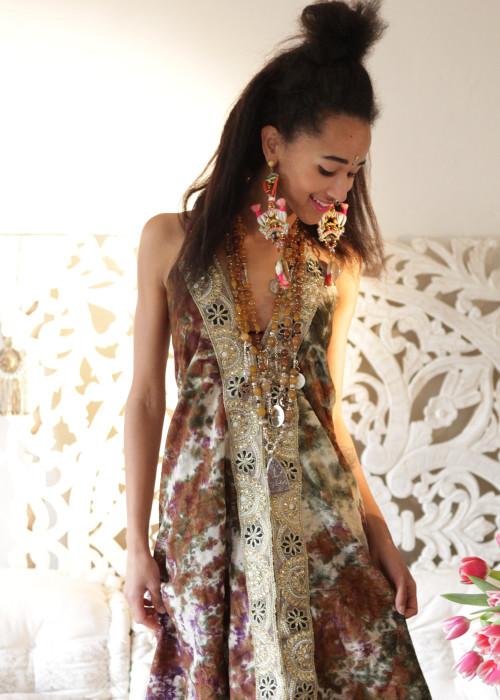 Boho Neckholderkleid Tanee Batik Nr.7 braun