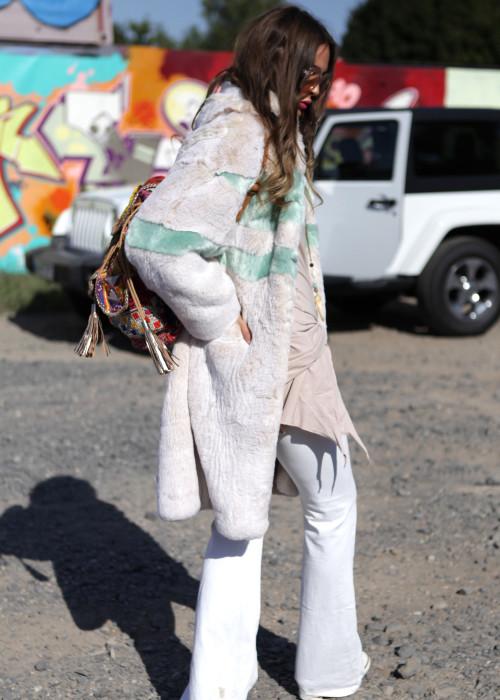 Mantel Kunstfell Angie beige-gruen