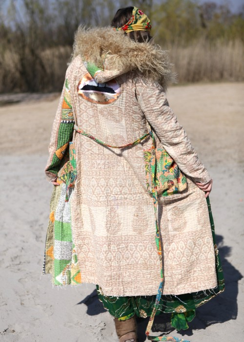 Boho Mantel Amisha Vintage Kapuze beige