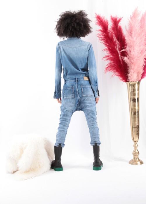 Sarouel Jeans Vintage blau