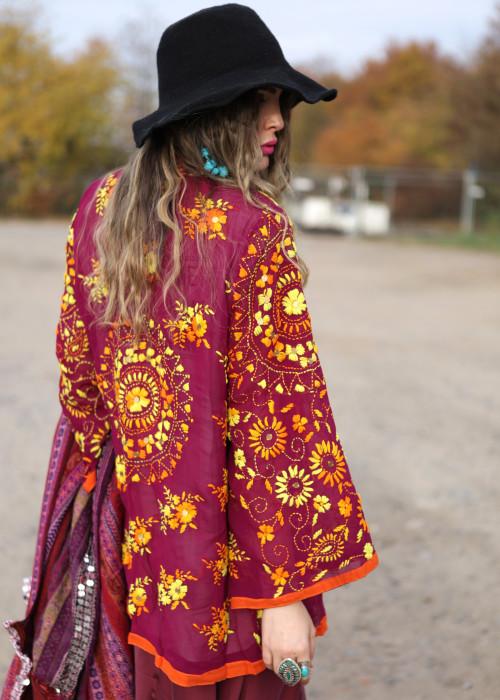 Boho Hemd-Jacke Embroidery magenta