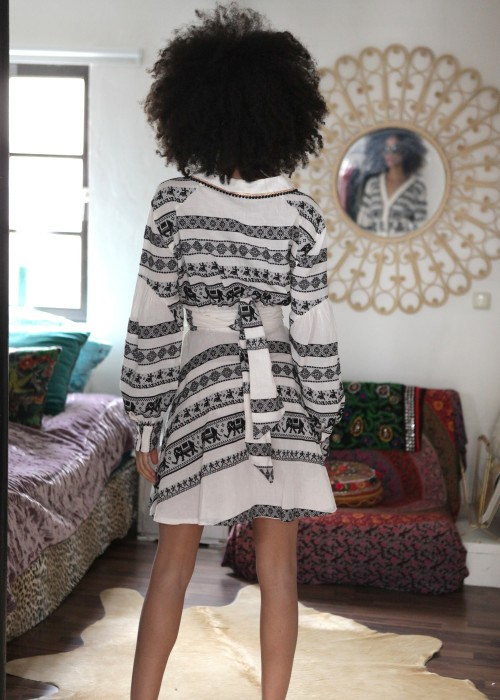 Boho Kleid Short Keffiyeh schwarz-weiss