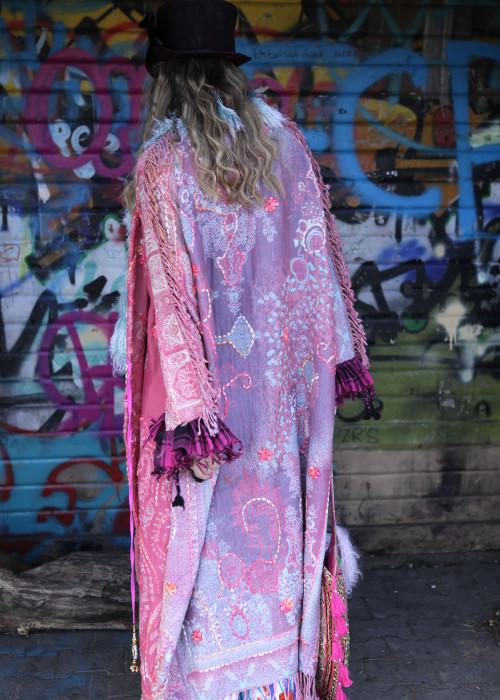 Boho Mantel mit Tibetlamm Pastell rosa
