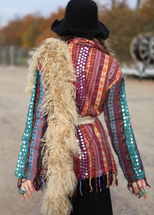 Boho Jacke Gypsy Paisley rost-tuerkis