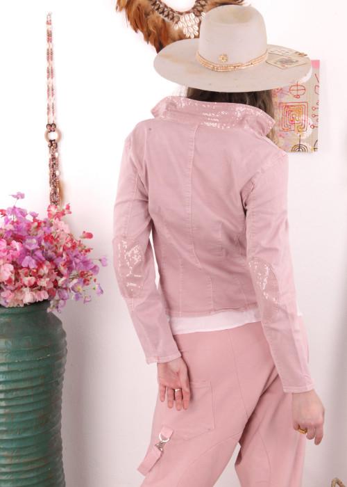 Jeansblazer Sequins rosa