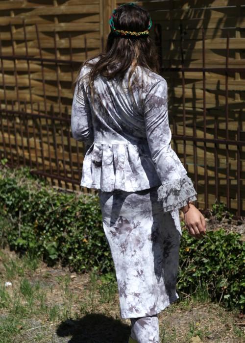 Boho Batik Schösschen Jacke Grau Lace