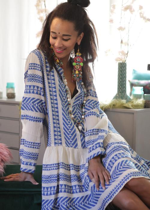 Boho Tunika Kleid Buttons Kefiyeh blau-creme