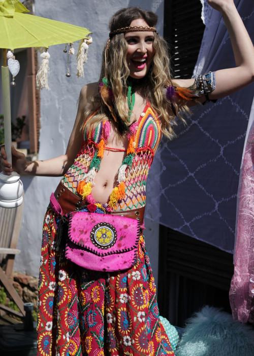 Boho Belt Bag Clutch pink