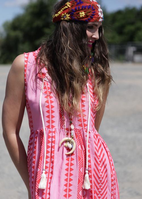 Boho Maxikleid Keffiyeh Sleeveless pink