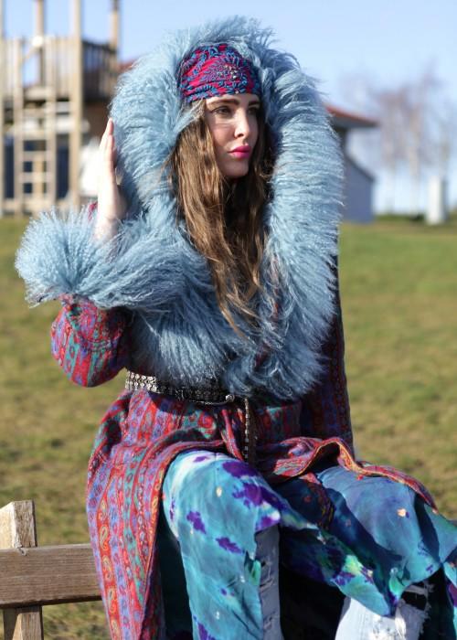 Boho Mantel mit Kapuze und Tibetlamm blau