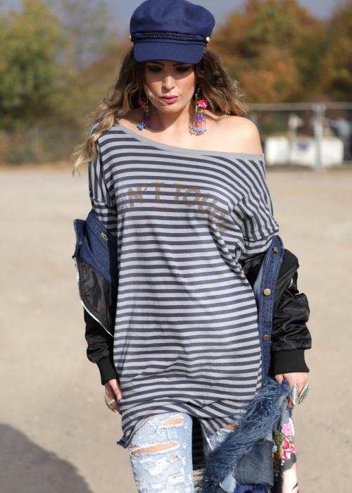 Sweatshirt Long Stripes blau-grau