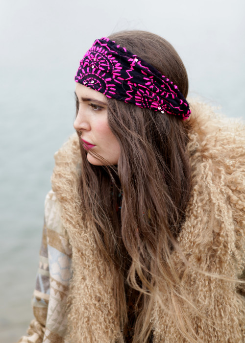 Boho Stirnband Embroidery black