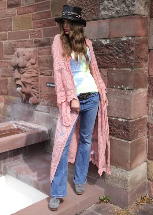 Boho Kimono Lace Rose