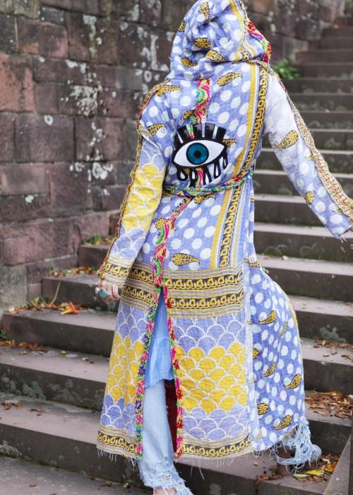 Boho Mantel Amisha Vintage Kapuze Auge blau-gelb