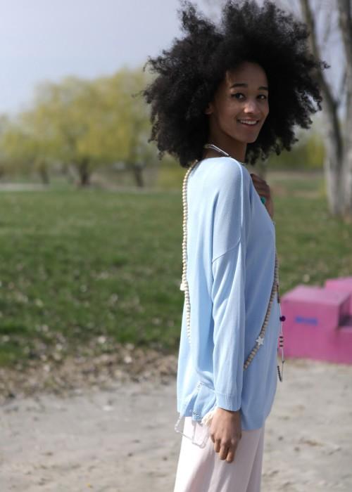 Sommer Pullover hellblau